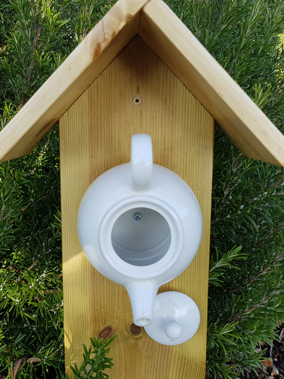 White teapot bird feeder