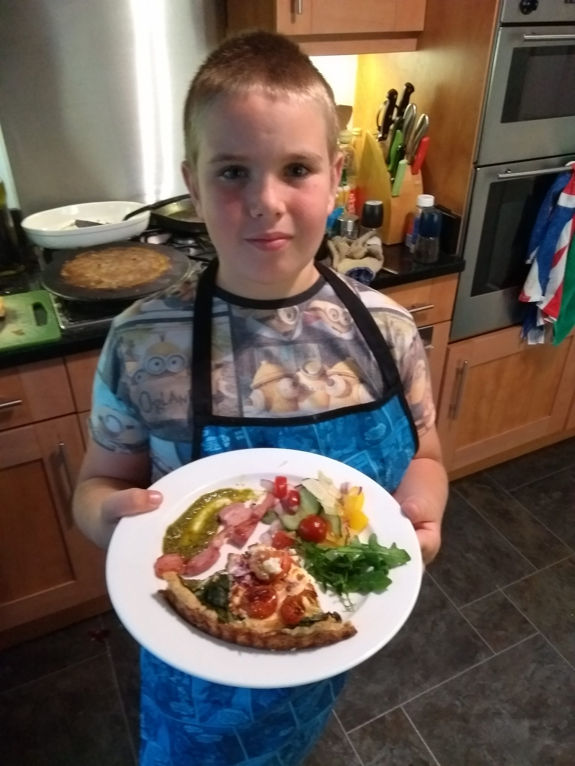 Edward with his Tomato, Spinach and Feta quiche